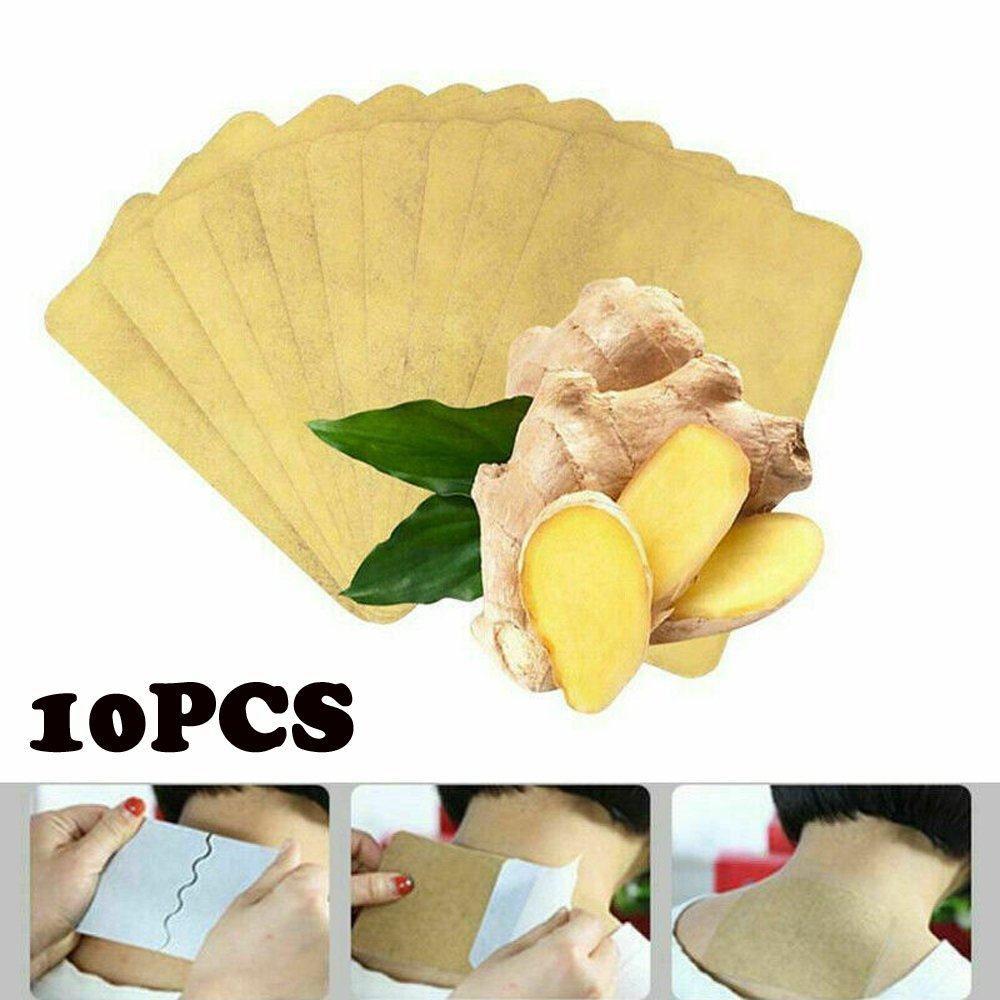 10Pcs Ginger Detox Patch Body Neck Knee Pad Pain Relief ...
