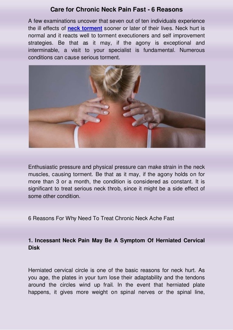 Care for chronic neck pain fast