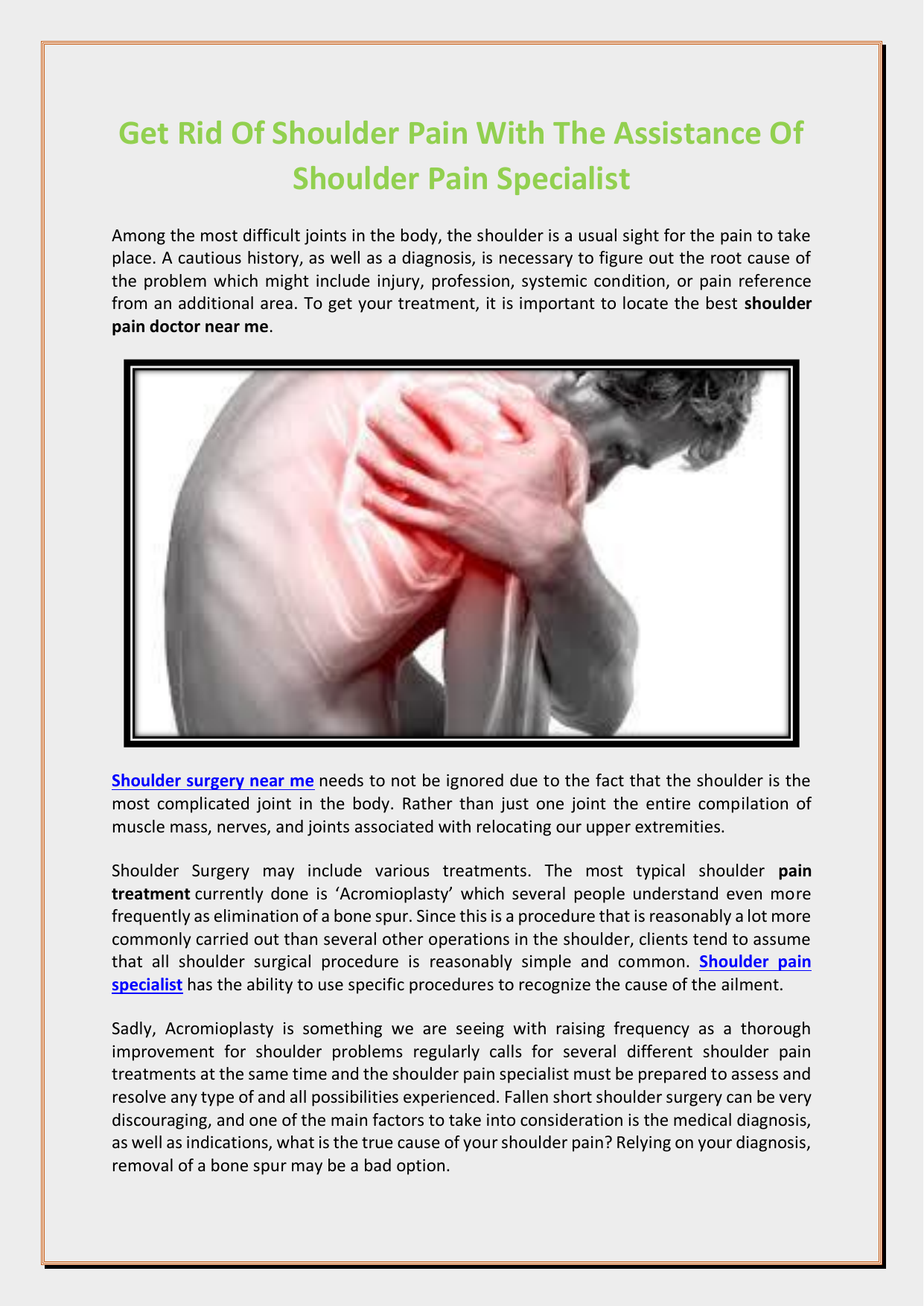 Get Rid Of Shoulder Pain With The Assistance Of Shoulder ...